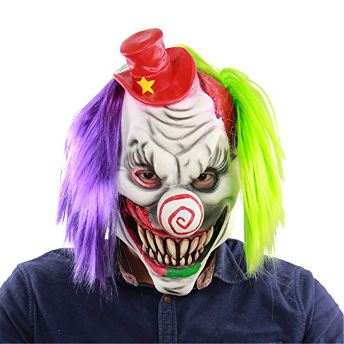 Halloween Scary Creepy Demon Clown, Evil Latex Mask with Green Purple -