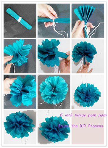 Heartfeel 8pcs Teal Color Tissue Paper Pom Poms Flower