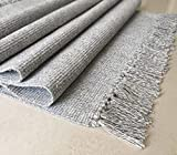 Multi-Usage Non-slip Area Rugs Hand Woven Carpet Flat Weave 100% Cotton Kitchen Living Bedroom Mats Area Rug Include Anti Slip Underlay Grey 60 * 90cm