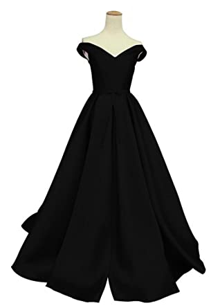 Mirandas Bridal Womens Sweetheart Off the Shoulder A Line Prom Dress with Sash Black US2
