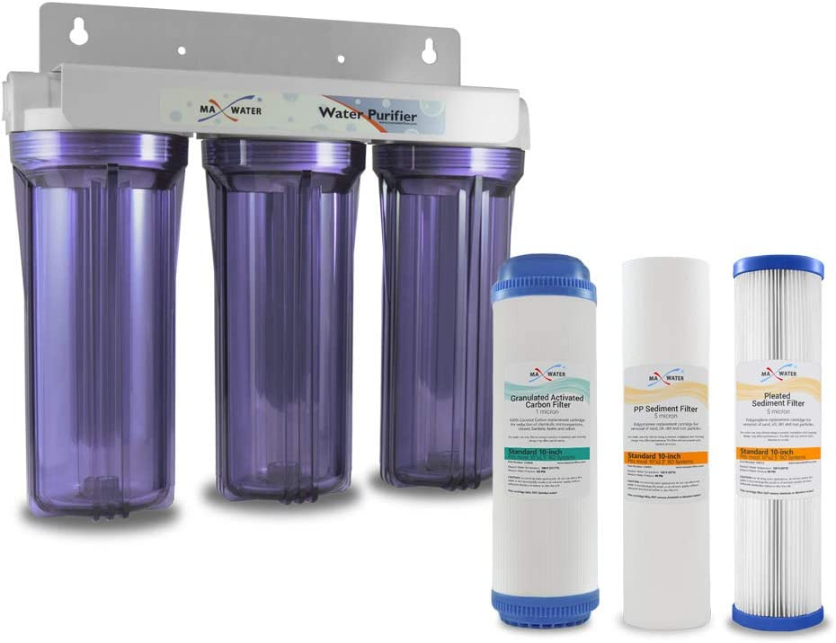"""Max Water Whole House Water Filter, 3 Stage Home Water Filtration System Clear Housing, w/ 10"""" x 2.5"""" Pleated, Sediment, GAC Carbon Water Filters (RV's/Apartments/Cottage) 3/4"""" Ports"""