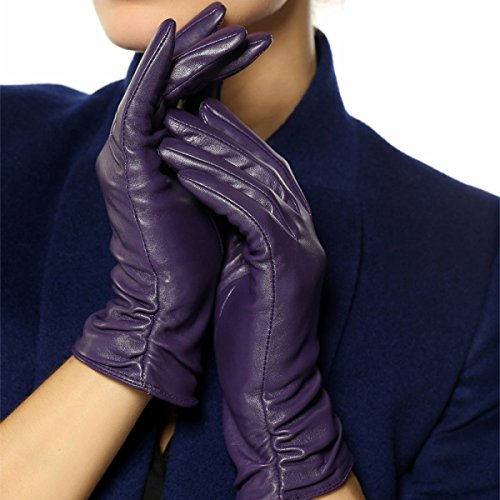 DIDIDD Women Real Leather Gloves Cashmere Lined Gloves Short Classic Back Lace 4 (Knob Cashmere)