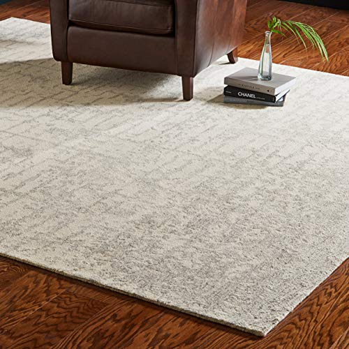 Amazon Com Rivet Contemporary Linear Distressed Wool Rug