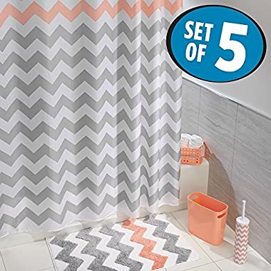 mDesign Chevron Fabric Shower Curtain, Microfiber Accent Rug, Toilet Bowl Brush, Wastebasket Trash Can, Storage Basket - Set of 5, Light Gray/Coral