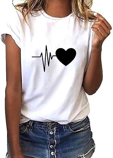 Camiseta de Mujer Manga Corta Corazón Impresión Blusa Camisa Cuello Redondo Basica Camiseta Suelto Verano Tops Casual Fiesta T-Shirt Original tee vpass: Amazon.es: Ropa y accesorios