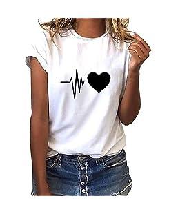 FRAUIT Damen Lose Kurzarm T-Shirt Herz Drucke Weise Hemden Frauen beiläufige Oansatz Spitze Oberteile Mode Elegant Streetwear Sport Freizeit Festival Kleidung Bluse Tops