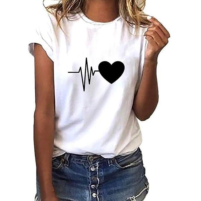 73753e2ed45ec FRAUIT Blusa Suelta De Mujer Manga Corta Camiseta con Estampado De  Corazones Tops Casuales Camisa del