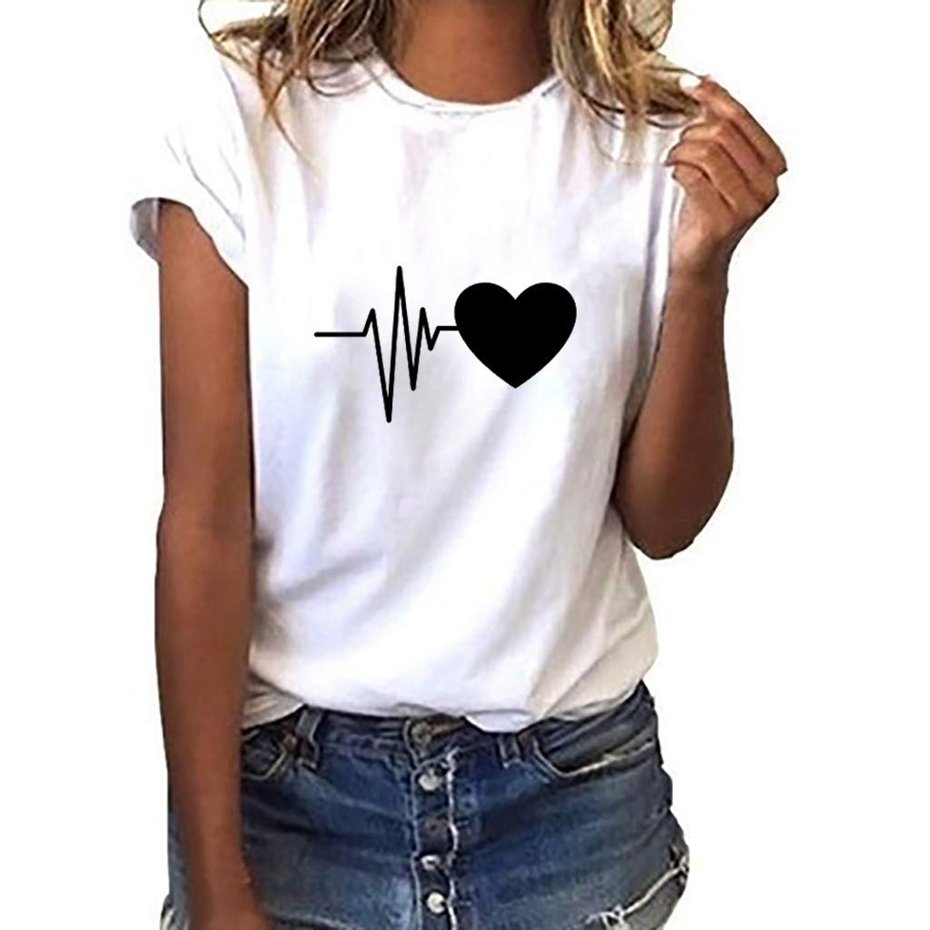 2019 Summer Fashion Women's Loose Short-Sleeved Blouses Heart Print T-Shirt Casual O-Neck Tops Black&White S-3XL (A, XL)
