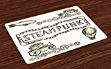 Ambesonne Sketchy Place Mats, Balloon Antique Cars Design with Quote in Middle Saying ' Steampunk ', Washable Fabric Placemats for Dining Room Kitchen Table Decor, Ivory Dark Olive Green