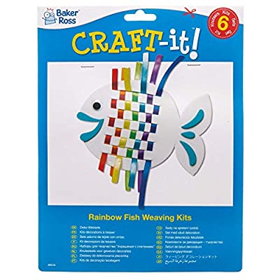 Baker Ross AR516 Rainbow Fish Kits (Pack of 6) -Arts and Crafts Kids Pack Weave Sets for Children, 6pack, Assorted