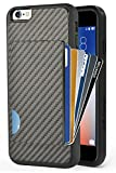 #10: iPhone 6 Wallet Case, iPhone 6s Card Holder Case, ZVE Shockproof iPhone 6 Credit Card Case with Cardbon Fiber Design Slim Protective Wallet Cover for Apple iPhone 6 and iPhone 6s 4.7 Inch Black