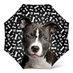 Design Dog Paws Umbrella With American Staffordshire Puppy Dog Pattern Print - Windproof Travel Folding Umbrella Golf Umbrella - Great Dog Mom Gifts