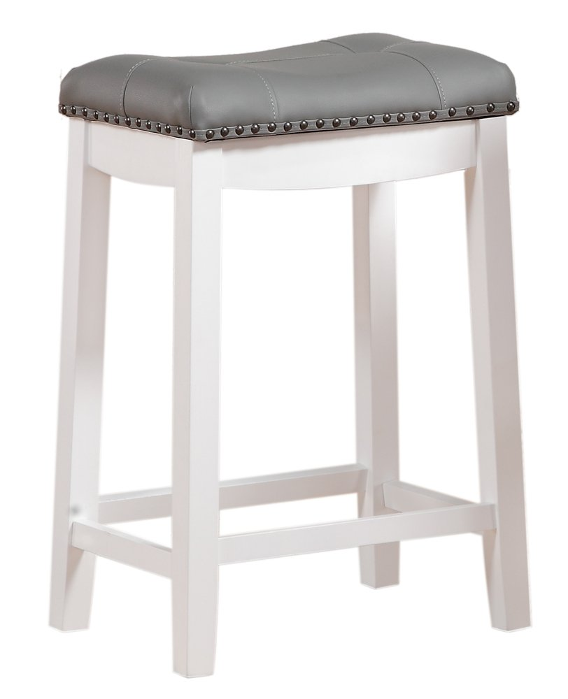 Angel Line 42418-21 Cambridge bar stools, 24'' Set of 1, White with Gray Cushion by Angel Line