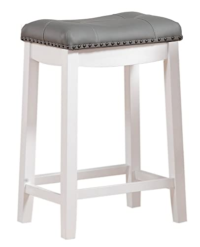 Angel Line Cambridge bar stools, 24 Set of 1, White with Gray Cushion