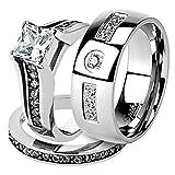 Marimor Jewelry His & Her Stainless Steel 2.10 Ct Cz Bridal Ring Set & Men Zirconia Wedding Band Women's Women's Size 05 Men's Size 09