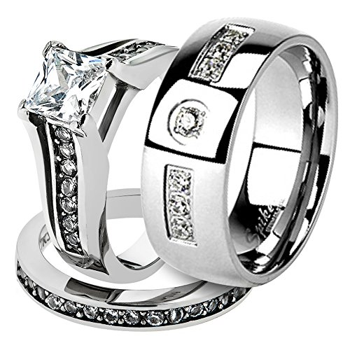 Marimor Jewelry His & Her Stainless Steel 2.10 Ct Cz Bridal Ring Set & Men Zirconia Wedding Band Women's Women's Size 05 Men's Size 09