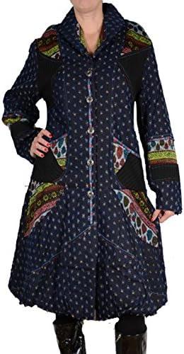 Italy Donna Designer Patchwork Damen Mantel Übergangsmantel Jeans Ballon Trench Coat 40 42 44 46 M L XL Blau Übergang Winter Wintermantel