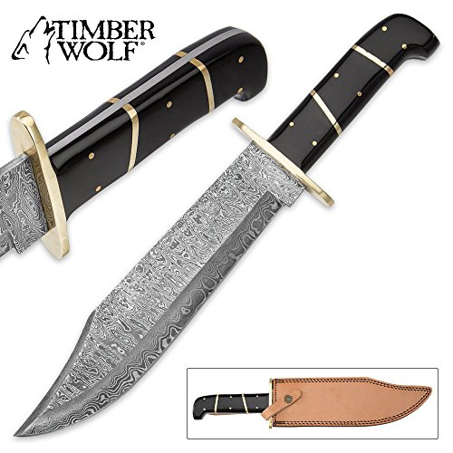(Timber Wolf Bison Gorge Damascus Bowie Knife with Leather)