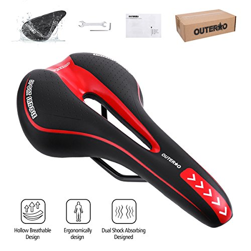 OUTERDO Bike Saddle Mountain Bike Seat Breathable Comfortable Bicycle Seat with Central Relief Zone and Ergonomics Design Fit for Road Bike and Mountain Bike (Black&Red) (Black Bike Seat)