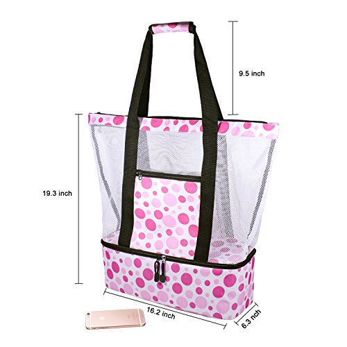 Rotanet Mesh Beach Tote Bag-Zipper Top with Insulated Picnic Cooler Extra  Large e2232a1342
