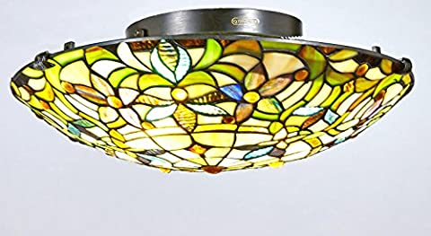 Diamond Life Tiffany Style Stained Glass Flush Mount Ceiling Lighting TL16014, 16-inch wide - Diamond Style Light