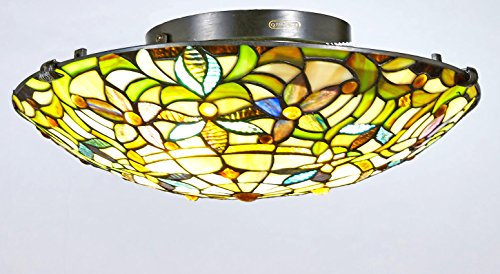 Stained Glass Ceiling Fixture (New Galaxy Lighting Tiffany Style Stained Glass Flush Mount Ceiling Lighting TL16014, 16-inch wide)