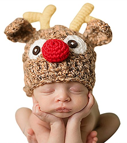 Bienvenu Christmas Santa's Reindeer Crochet Toddler Baby Hat Beanie Photo Prop,S]()