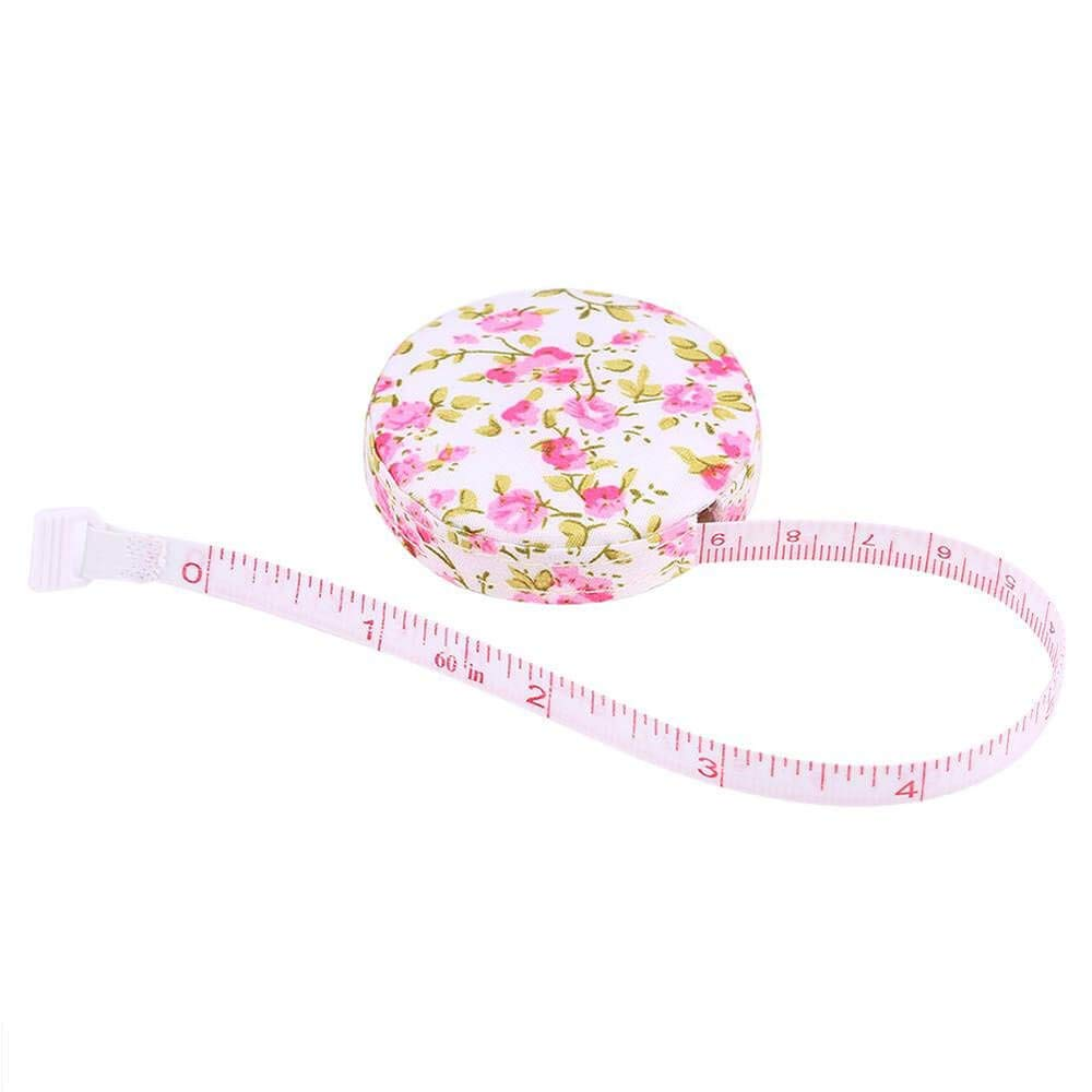 1.5 meter Cloth tape measure,Tape Measure for Body tape measure sewing Automatic retractable tape measure clothing measuring Tape Measure fractions Self Lock tape-Colored Flower pattern