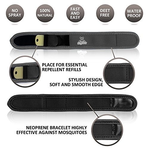 Four Refills - Natural Mosquito Repellent Bracelet with 4 Refills by BeigeWolf Uses All-Natural Lavender Oil, Black