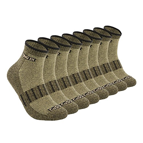 YingDi Copper Socks Moisture Wicking Anti-microbial Ankle Sport Socks Size L Green With Black Welt Pack of 4 pairs by yingDi (Image #7)