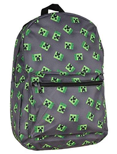 "Price comparison product image Minecraft Allover Creeper Print Backpack 17"" Grey"