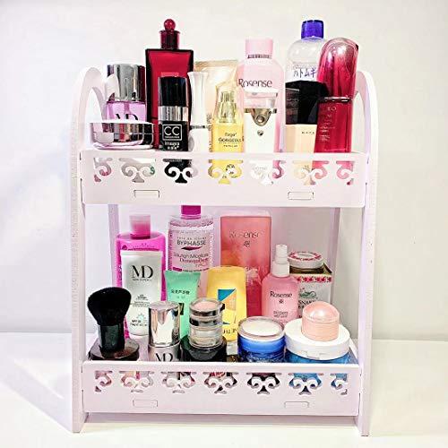 FunCute Makeup Organizer [Waterproof] [Large Capacity] [Multi-Functions] Bathroom Organizer Countertop with 2 Tiers, Durable Eco-Green PVC Material (EU Style White)