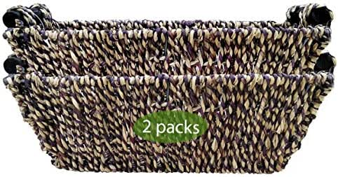 Wicker Baskets for Bathroom, Kitchen and Home Decor | Set of 2 Seagrass Baskets with Handles for Table, Toilet Tank Topper, Hand Towel, Paper Holder | Straw Wire Woven Little Pretty Baskets (Brown)