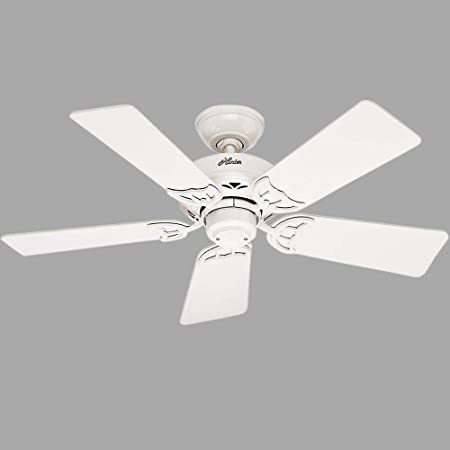 Hunter 52065 Hudson 42-Inch Ceiling Fan with Five White Light Oak Blades, White