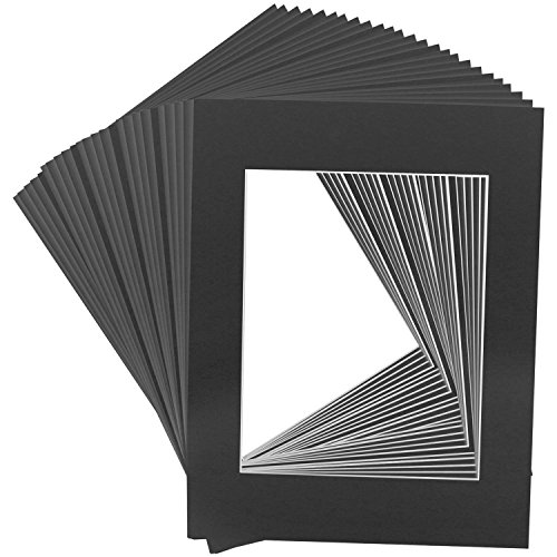 Golden State Art Pack of 25, 16x20 Black Picture Mats Mattes with White Core Bevel Cut for 11x14 Photo + Backing + Bags (Backing Board Surface Archival)
