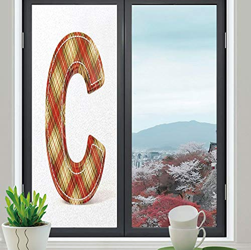 YOLIYANA Privacy Window Film Decorative,Letter C,for Glass Non-Adhesive,Vintage Typeface Design with Classical Pattern Sewing - Patterns Craft Snowman Free