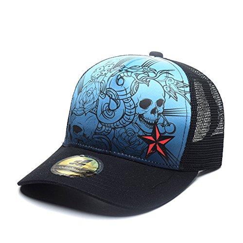 (Quanhaigou Skull Rose Skeleton Snake Dice Trucker Hat,Unisex Adjustable Curved Bill Snapback Cap Mesh Back)