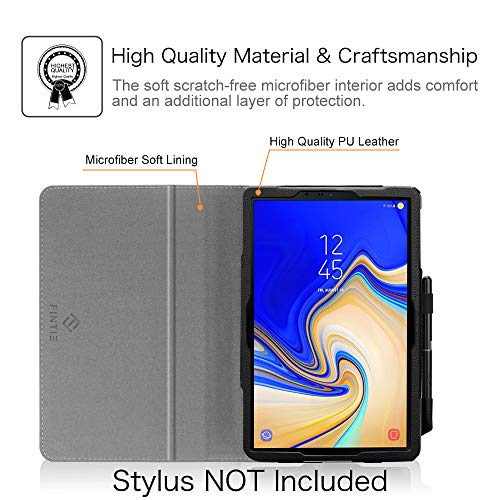 Fintie Folio Case for Samsung Galaxy Tab S4 10.5 2018 Model SM-T830/T835/T837, [Corner Protection] Premium Vegan Leather Stand Cover with S Pen Protective Holder Auto Sleep/Wake, Black