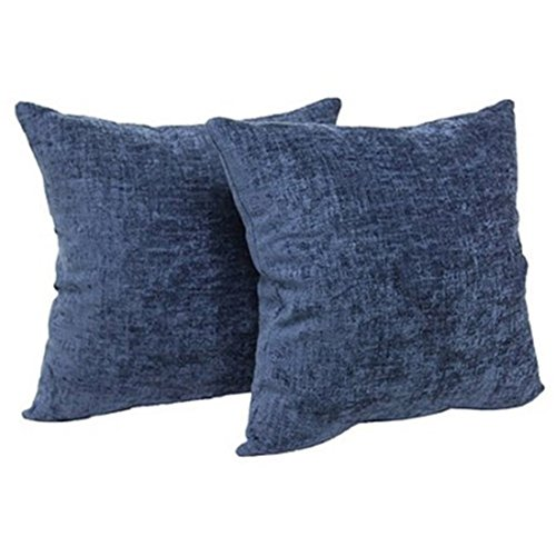 Mainstay Chenille Decorative Throw Pillow, Navy, Two Pack ()