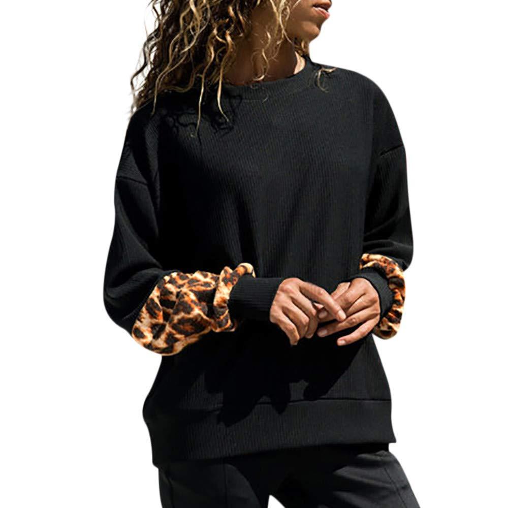 JYJM Damen Strickpullover Pullover Frauen Hoodie Sweatshirt Pulli mit Rundhalsausschnitt Sweater Freizeit Oberteile Sweatjacke Strickjacket Leopard Print Langarm Bluse Shirts Outwear