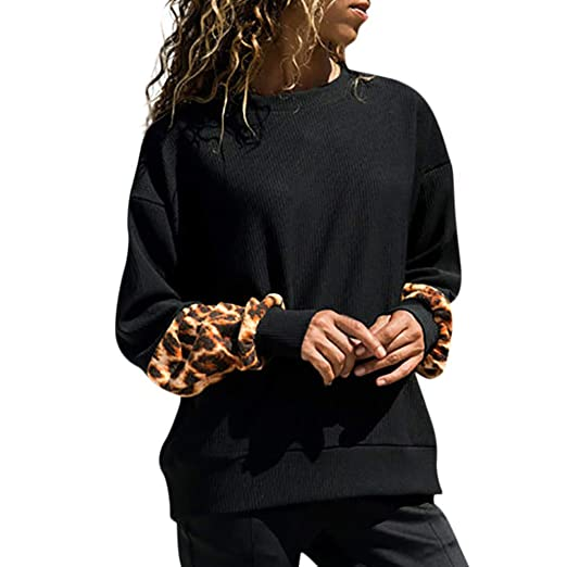 Zainafacai Fashion Sweatshirt, Ladies Knitted Leopard Blouse Oversize T-Shirt Tops Shirt (Black
