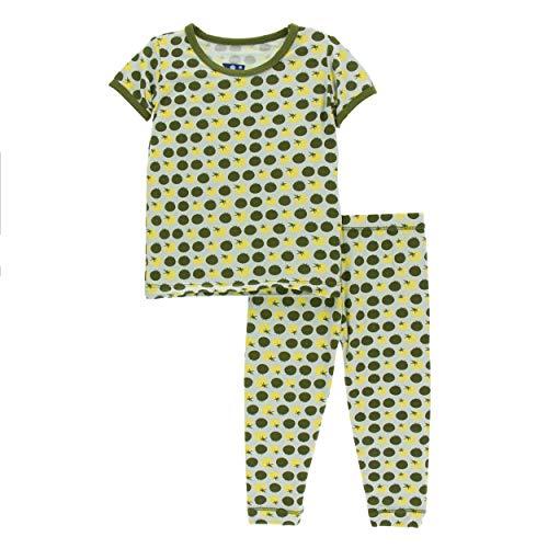 Kickee Pants Little Girls and Boys Print Short Sleeve Pajama Set - Aloe Tomatoes, 4T