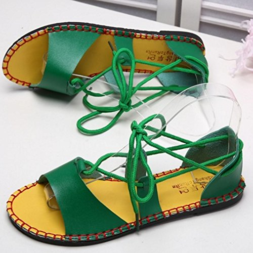 Shoes Beach Flat Lace Bohemia Women Fashion Green Gladiator up TAOFFEN Sandals FIxAztqWWw