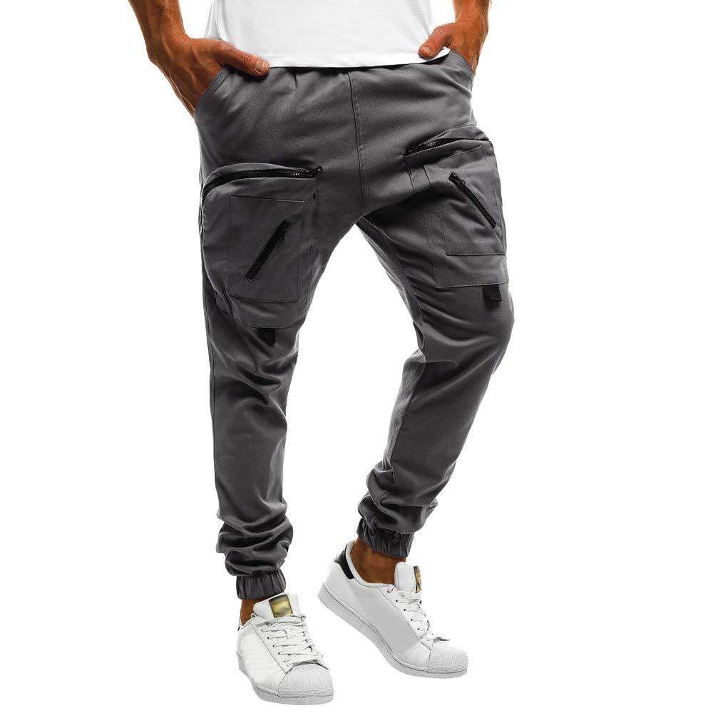 YKARITIANNA Men Sweatpants, Slacks Casual Elastic Sport Zipper Baggy Trousers with Pockets Pant Super Swaggy