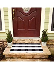 """Buffalo Plaid Rug - Black and White Check Door Mat Outdoor - Farmhouse Rugs for Kitchen/Bathroom/Front Porch/Decor - Layered Welcome Doormats - Checkered Flannel Cotton Entry Way Layering Mats 24""""x36"""""""