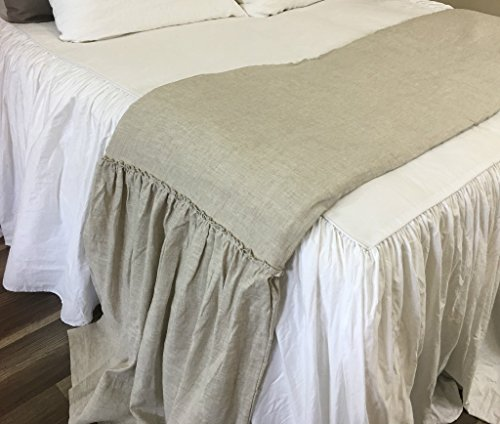 Linen Bed Scarf Runner with Mermaid Long Country Ruffles, Effortless Chic! FREE SHIPPING by SuperiorCustomLinens