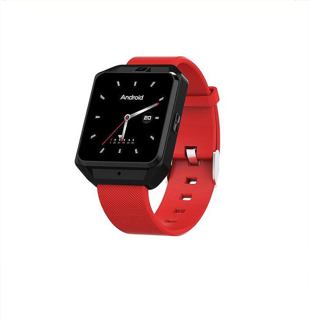 スマートウォッチフルネットコム4GスマートウォッチM5アンドロイドシステムWiFiインターネットGPS測位心拍数多機能スポーツ腕時計ブレスレット (色 : 赤-M) B07FFVB19H 赤-M
