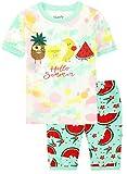 Slenily White Girls Pajamas Sets Fruits Cotton Kids Sleepwears Short Sleeves Shirt Size 10,Colorful/Fruits,
