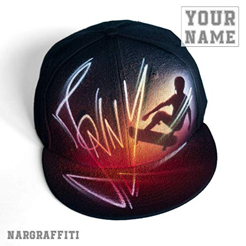 SKATEBOARDING black snapback hat with your CUSTOM airbrushed name and skateboarder -