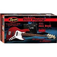 SQUIER BY FENDER JAZZ BASS START PLAYING + AMPLI RUMBLE 15 METALLIC RED AFFINITY + GIGBAG